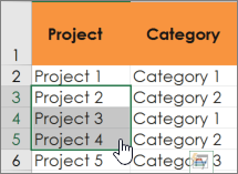 Excel Select cells