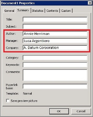 personal and private information, Document Properties