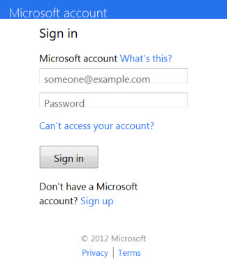 OneDrive sign in dialog box