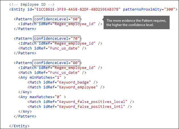 XML markup showing Pattern elements with different values for confidenceLevel attribute