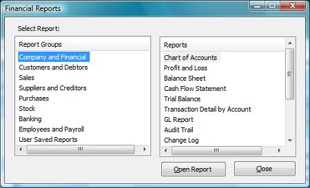 financial reports dialog box