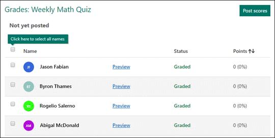 Grade quizzes.
