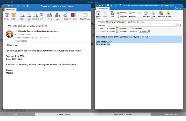 messages side-by-side in Outlook Full Screen view