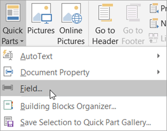 Select Quick Parts and then select Field.