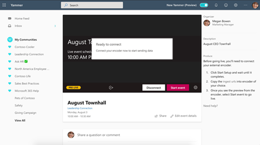 Screenshot showing starting a Live Event in Yammer
