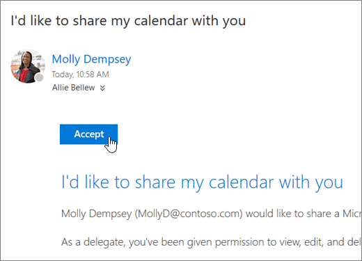 Manage someone elses calendar in outlook on the web outlook a screenshot of a shared calendar invitation stopboris Choice Image
