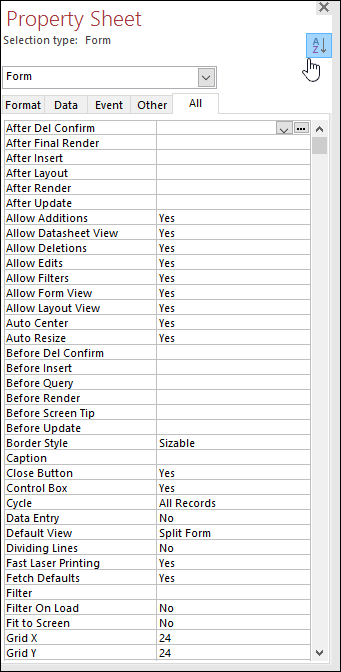 Screenshot of Access property sheet with properties sorted alphabetically