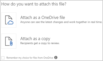 You can attach a OneDrive file or a copy of the file to your email message