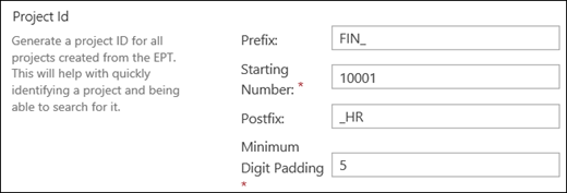 Project ID settings