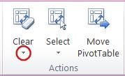 Actions group on the Options tab under PivotTable Tools