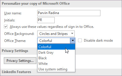 Settings for Office theme