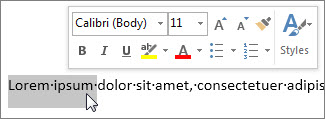 Mini Toolbar with selected text