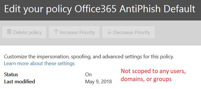 Antiphishing default policy details