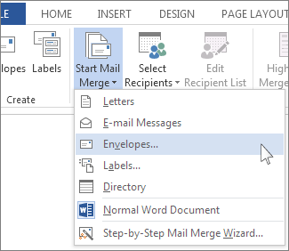 Start Mail Merge menu
