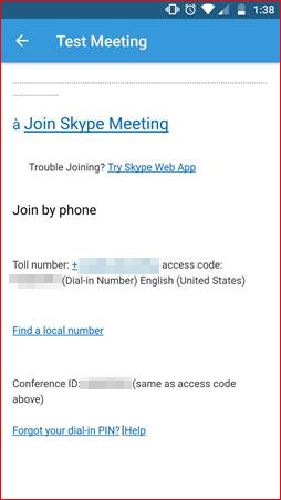 Meeting invitation template with access code