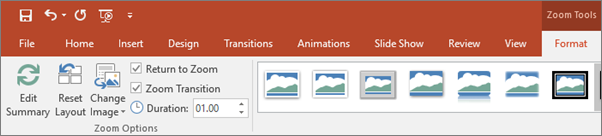 Shows the Zoom Tools in the Format tab of the ribbon in PowerPoint.