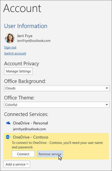 The Account pane in Office apps, highlighting the 'Remove service' option under Connected Services