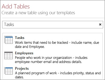 The table template search box on the Add Tables screen.
