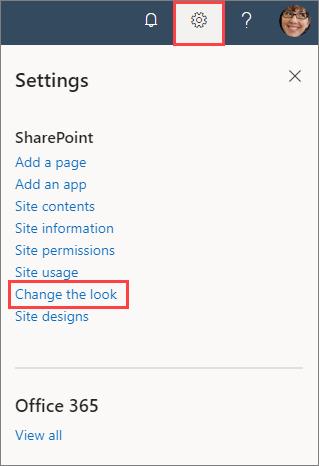 Image of site settings pane