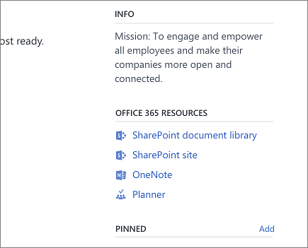 A screenshot showing 'Office 365 Resources' on the right side of the screen on Yammer.com.