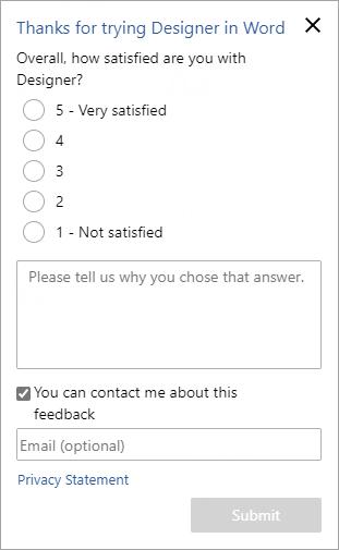 Designer feedback form