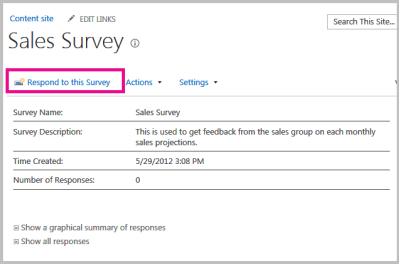 Respond to survey