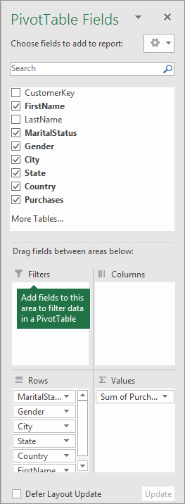 Filters area in PivotTable Fields pane