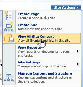 Site Actions menu with View All Site Content highlighted