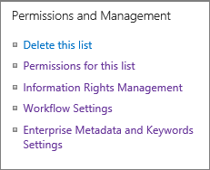 List permissions and Management Settings links