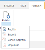 Screen shot of the publishing tab, which contains buttons for publishing, unpublishing, and submitting a publishing page for approval