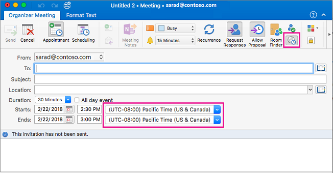 Meeting request with Time Zone button and Time Zone dropdowns highlighted