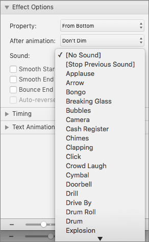 Screenshot shows the Effect Options section of the Animations pane with the Sound menu expanded.
