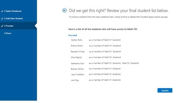 Screenshot of the final student list.