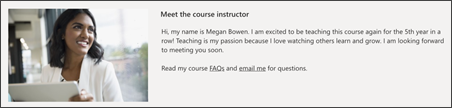 Image of the instructor profile on the training site