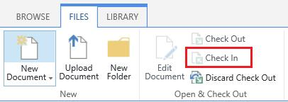 The Check In button on the Files tab