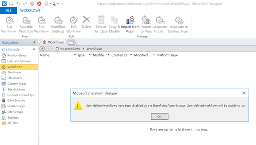Screenshot of SharePoint 2010 Workflow error in SharePoint Designer when SharePoint 2010 workflow is disabled