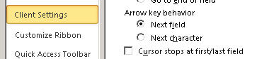 Focus view of the arrow key movement options