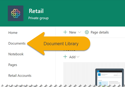 In the left navigation, select Documents to open the document library.