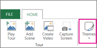 Themes button on the Power Map Home tab