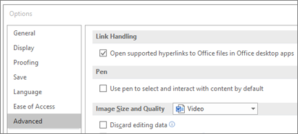 Options dialog box with Open hyperlinks checkbox highlighted