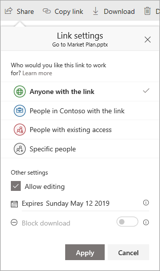 The detailed link settings you can select