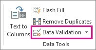 Data Validation on the Data tab