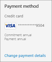 Payment section of the Admin Center page shows that the subscription is paid annually
