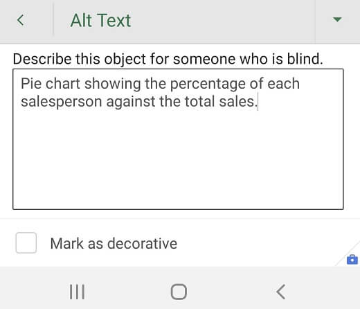 Alt Text dialog box in Excel for Android.