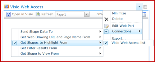 The Edit Web Part connections menu with Connections options displayed