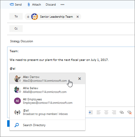 Screenshot of Outlook new email dialog, showing an @mention in the text of the message.