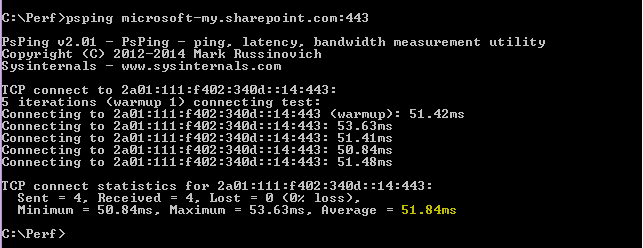 The PSPing command going to microsoft-my.sharepoint.com port 443.