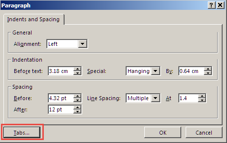 The Paragraph dialog box.