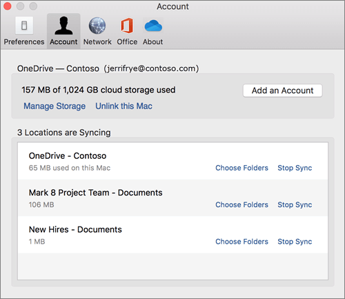 Screenshot of the Account tab on the OneDrive sync client for the Mac