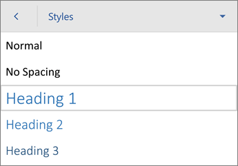 Styles command, with Heading 1 selected